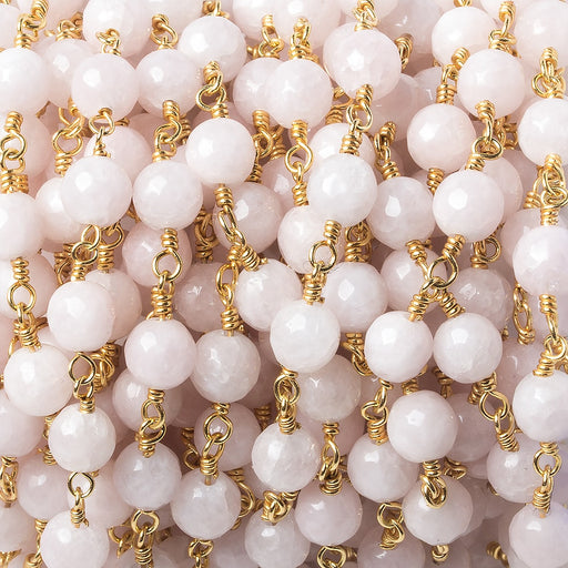 6mm Dyed Pink Jade faceted round Gold plated Chain by the foot 25 pieces