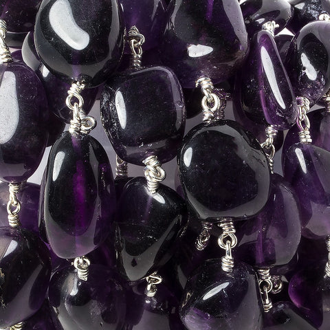 15x11-20x13mm Amethyst plain nugget Silver plated Chain by the foot 13 pieces