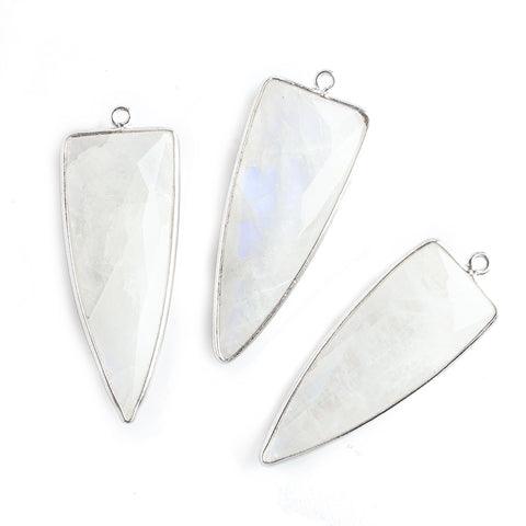 42x16mm Silver .925 Bezel Rainbow Moonstone Point 1 ring Pendant 1 piece