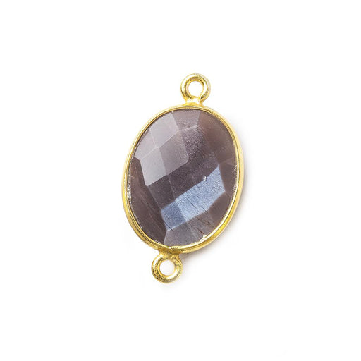 17x13mm Vermeil Bezel Chocolate Moonstone Faceted Oval Connector 1 piece