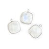 15.5mm Silver Bezel Rainbow Moonstone faceted cushion Pendant 1 piece