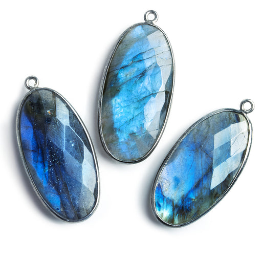 34x17mm Oxidized Silver .925 Bezel Labradorite Faceted Oval Pendant 1 piece