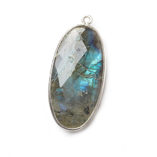 34x17mm Silver .925 Bezel Labradorite Faceted Oval Pendant 1 piece