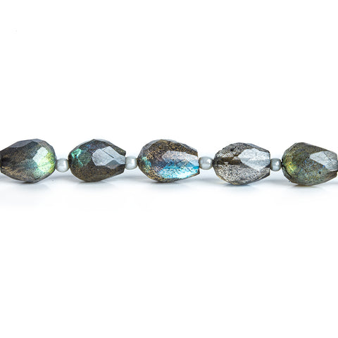7-9mm Labradorite Faceted Tear Drop Beads 6 inch 16 pieces