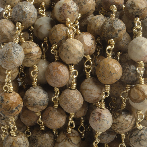 8mm Picture Jasper faceted round Gold plated Chain by the foot 21 beads