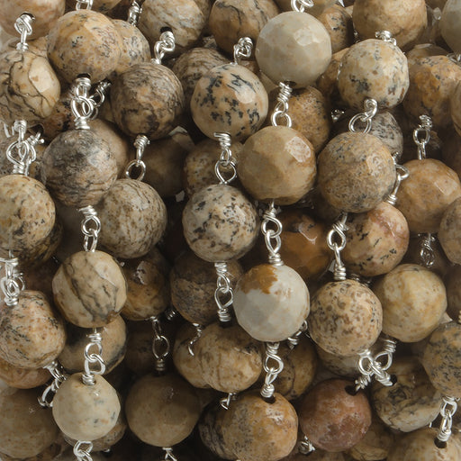 8mm Picture Jasper faceted round Silver plated Chain by the foot 21 beads