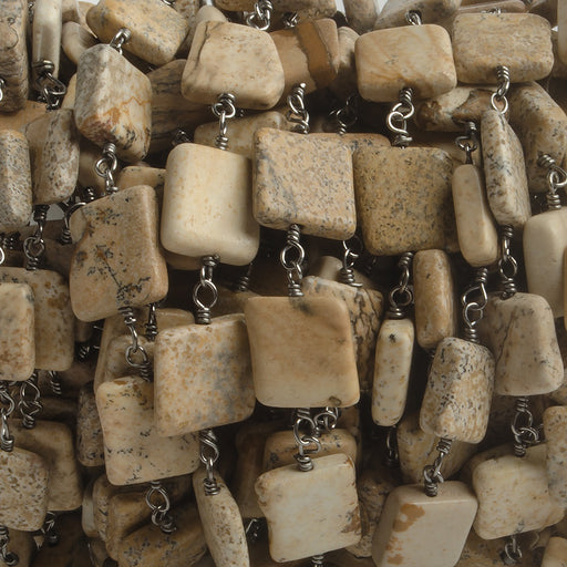 7mm Picture Jasper Plain Square Black Gold plated Chain by the foot 21 beads