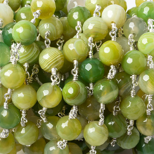 8mm Lime Green banded Agate faceted round Silver plated Chain by the foot 21 pieces