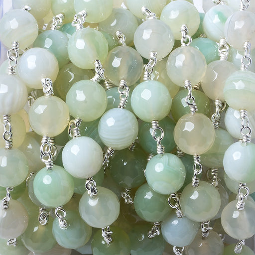 8mm Mint Green banded Agate faceted round Silver plated Chain by the foot 21 pieces