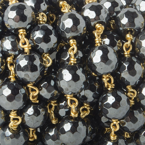 10mm Hematite faceted round Gold plated Chain by the foot 19 pieces