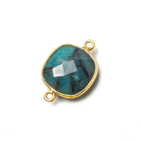 Vermeil Bezel Chrysocolla faceted cushion Connector 1 piece