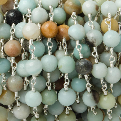 6mm Multi Color Amazonite plain round Silver plated Chain by the foot 26 pieces