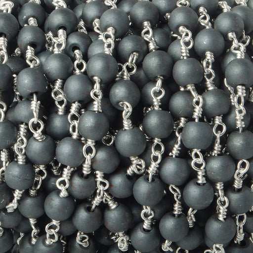 6mm Matte Hematite plain round Silver plated Chain by the foot 26 pieces