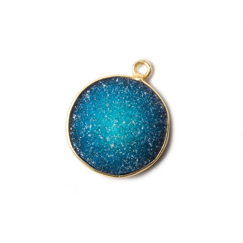 16mm Blue Coin Drusy Vermeil Bezel 1 ring Pendant 1 piece