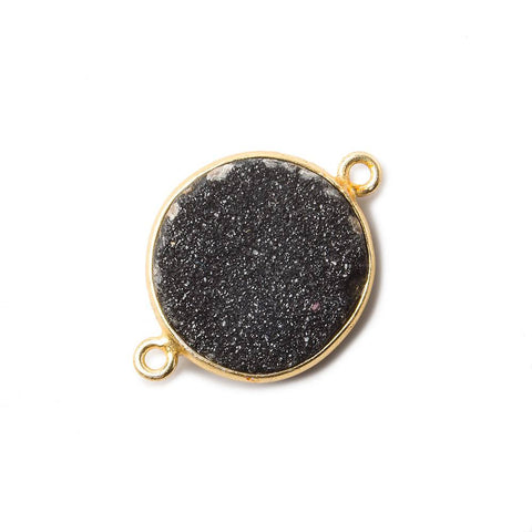 16mm Black Coin Drusy Vermeil Bezel 2 ring Connector 1 piece