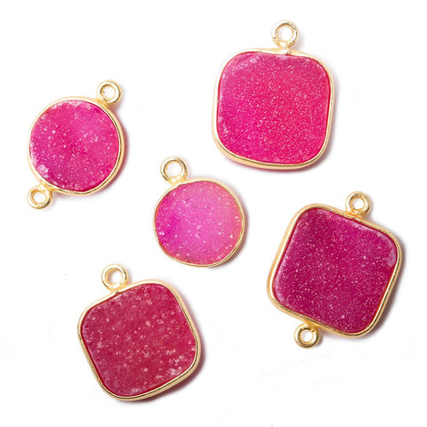 12-16mm Pink Drusy Vermeil Bezel Pendant & Connector Set of 5