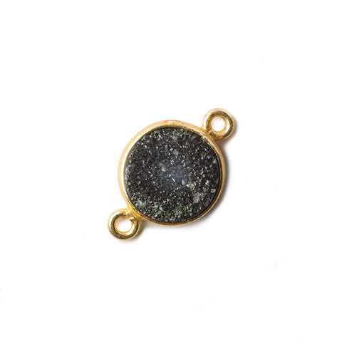 11mm Black Coin Drusy Vermeil Bezel 2 ring Connector 1 piece