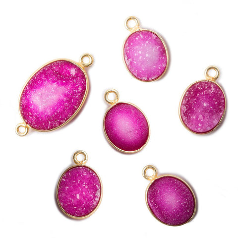 14x11-21x14mm Pink Oval Drusy Vermeil Bezel Pendant & Connector Set of 6