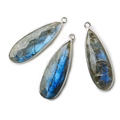 28x11mm .925 Silver Bezeled Labradorite faceted Pear Pendant 1 piece