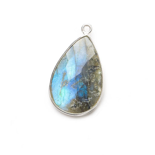 26x17mm Silver .925 Bezeled Labradorite Pear Focal Bead Pendant 1 pc