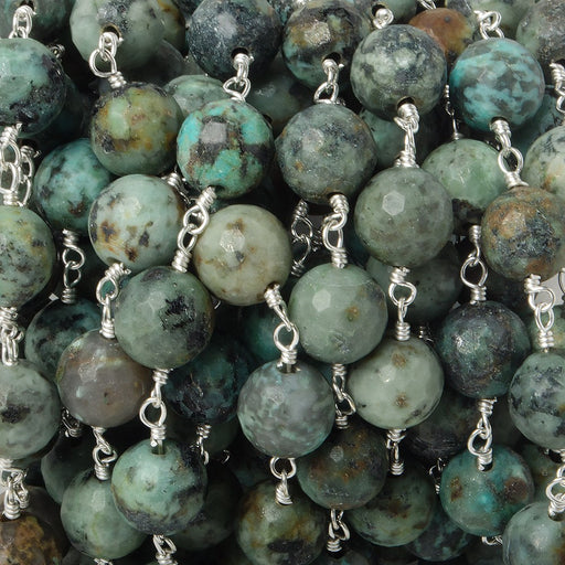 8mm African Turquoise Jasper faceted round Silver plated Chain by the foot 21 pieces
