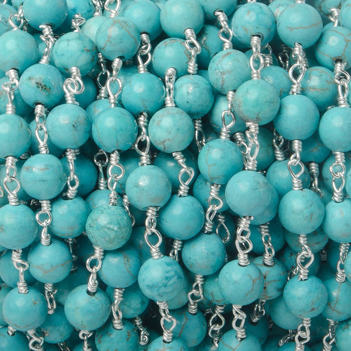6mm Turquoise Howlite plain round Silver plated Chain by the foot 26 pieces