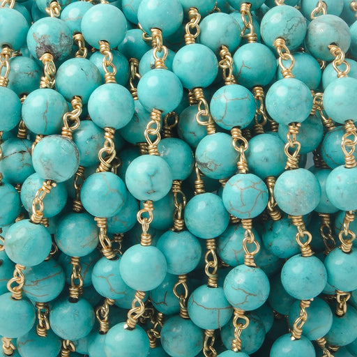 6mm Turquoise Howlite plain round Gold plated Chain by the foot 26 pieces