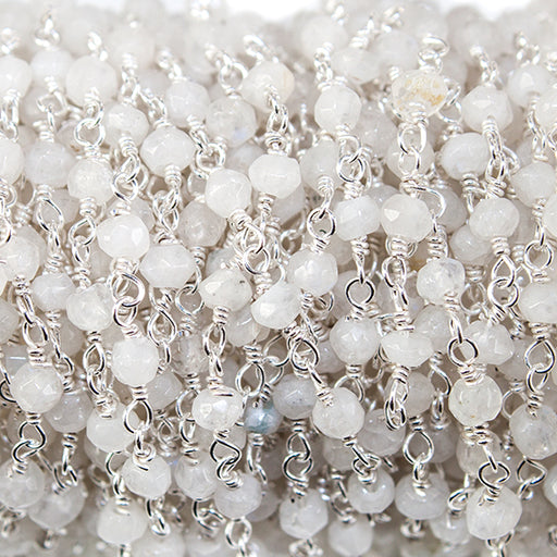3mm Rainbow Moonstone faceted rondelle Silver Rosary Chain by the foot 39 beads
