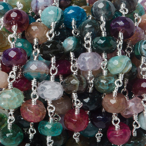 8mm Festive Crackled Agate faceted rondelle Silver plated Chain by the foot 24 pieces