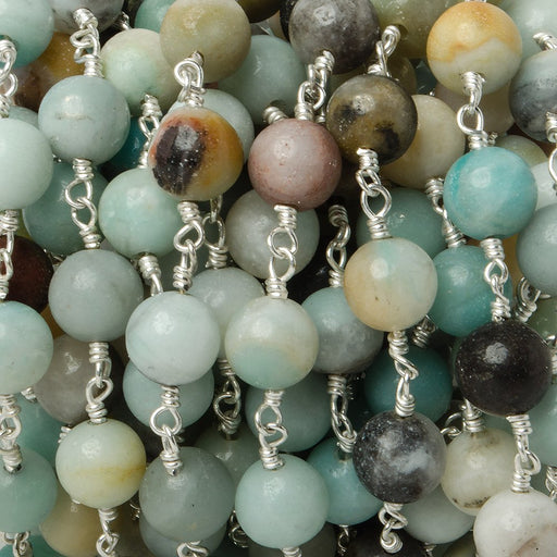 8mm Multi Color Amazonite plain round Silver plated Chain by the foot 20 pieces