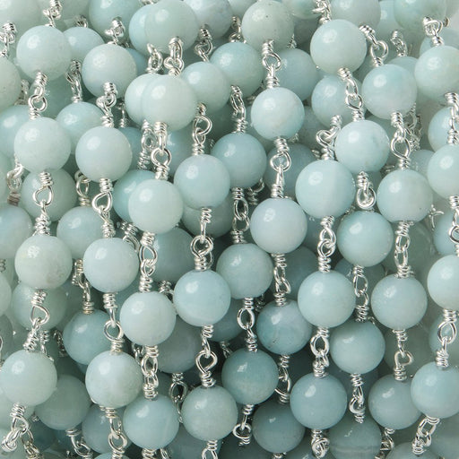 6mm Amazonite plain round Silver plated Chain by the foot 24 pieces