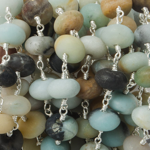 10mm Matte Multi Color Amazonite plain Rondelle Silver plated Chain by the foot 23 pieces