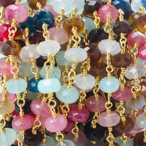7.5mm Tropical Chalcedony faceted rondelle Gold plated Chain by the foot 26 pieces