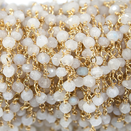 2.8-3.5mm Rainbow Moonstone faceted rondelle Gold Plated Rosary Chain by the foot 39 beads