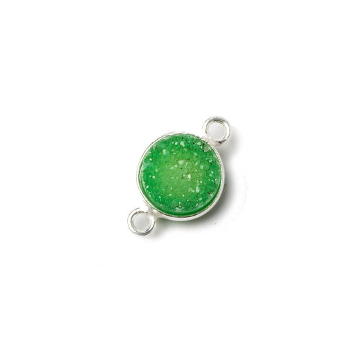 10mm Silver Bezel Lime Green Drusy Coin Connector 1 piece