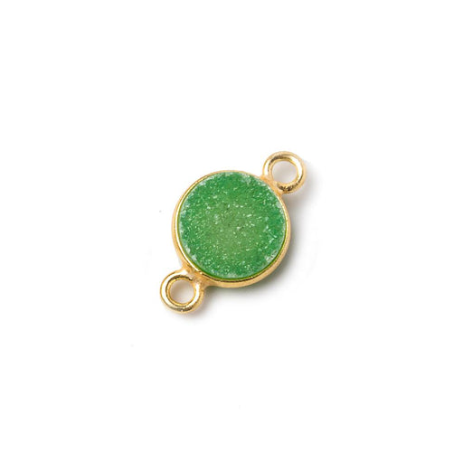 10mm Vermeil Bezel Lemon Lime Drusy Coin Connector 1 piece