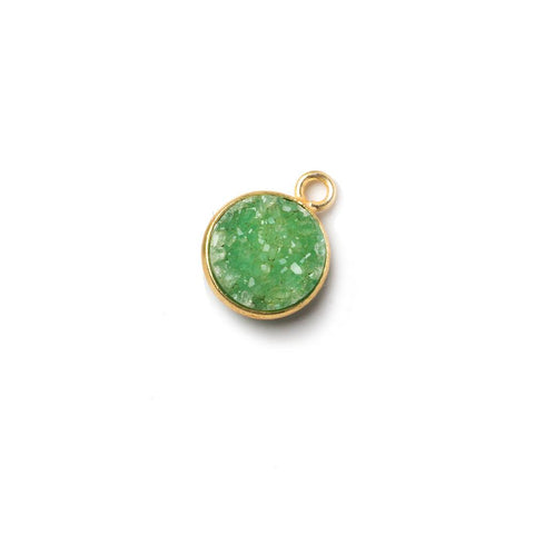 10mm Vermeil Bezel Lime Green Drusy Coin Pendant 1 piece