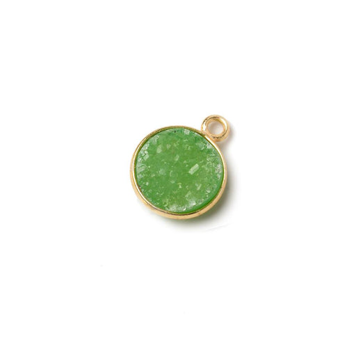 11mm Vermeil Bezel Lime Green Drusy Coin Pendant 1 piece