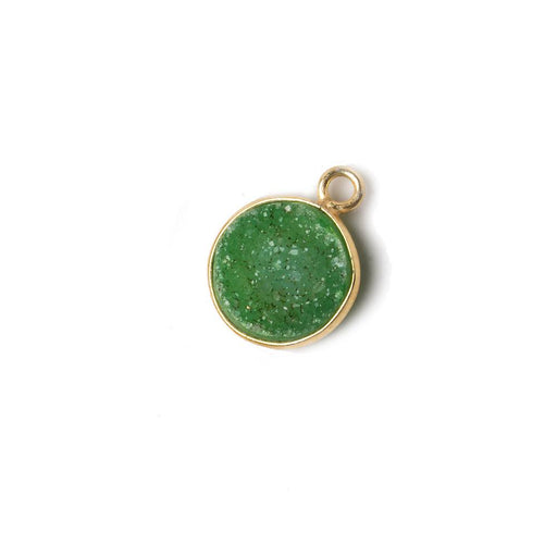 11mm Vermeil Bezel Grass Green Drusy Coin Pendant 1 piece