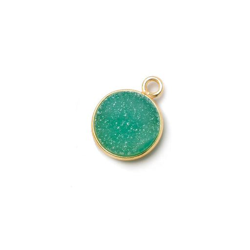 11mm Vermeil Bezel Teal Green Drusy Coin Pendant 1 piece
