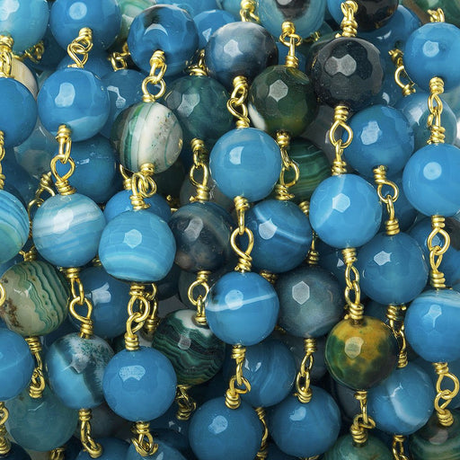 8mm Blues Banded Agate faceted round Gold Chain by the foot 21 beads