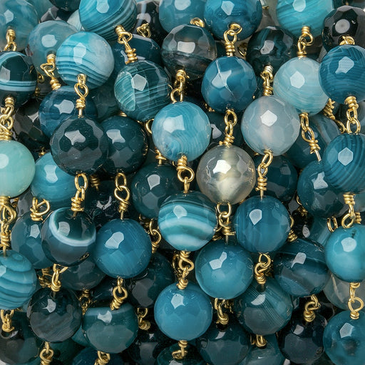 8mm Teal Banded Agate faceted round Gold Chain by the foot 21 beads
