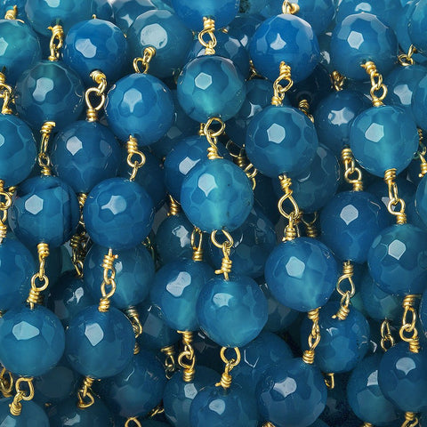 8mm Marine Blue Agate faceted round Gold Chain by the foot 21 beads