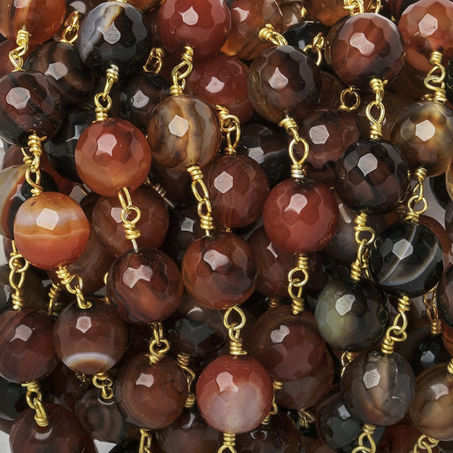 8mm Burnt Orange Banded Agate faceted round Gold Chain by the foot 21 beads