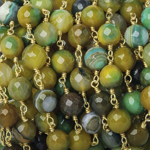 8mm Lemon Lime Green Agate faceted round Gold Chain by the foot 21 beads