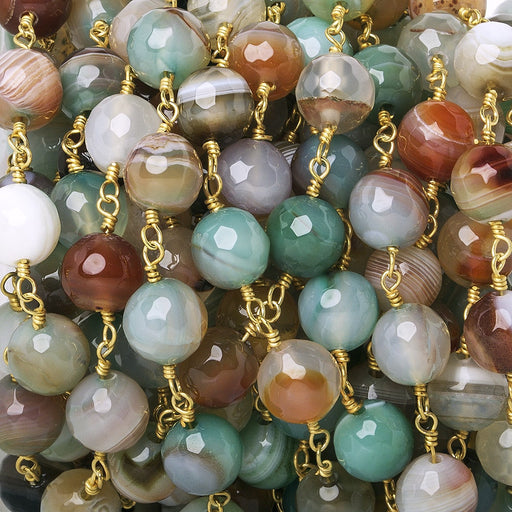 8mm Burnt Orange & Green Banded Agate faceted round Gold Chain by the foot 21 beads