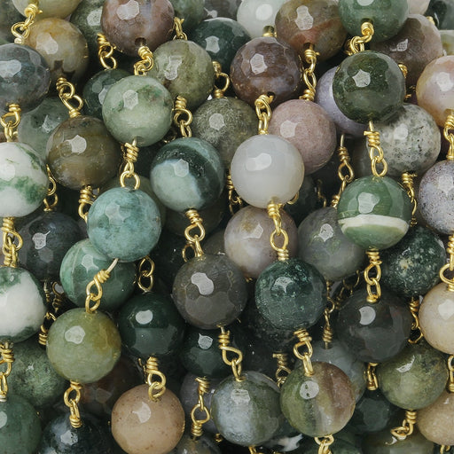 8mm Fancy Jasper faceted round Gold Chain by the foot 21 beads