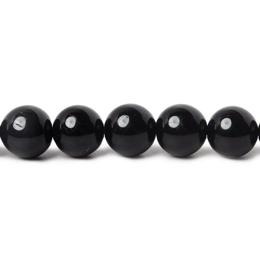 8mm Black Tourmaline plain round beads 15.5 inch 49 pieces