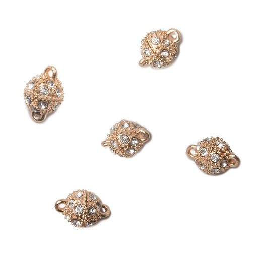 8mm Rose Gold plated Magnetic Clasp Round with White Rhinestones Set of 5