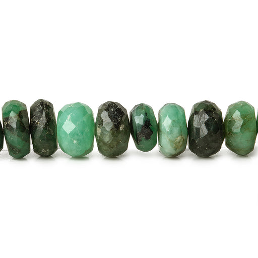 7mm Brazilian Emerald faceted rondelles 8 inch 45 beads